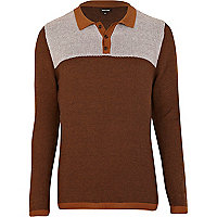 Brown block colour jumper