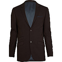 Chocolate brown slim fit suit jacket