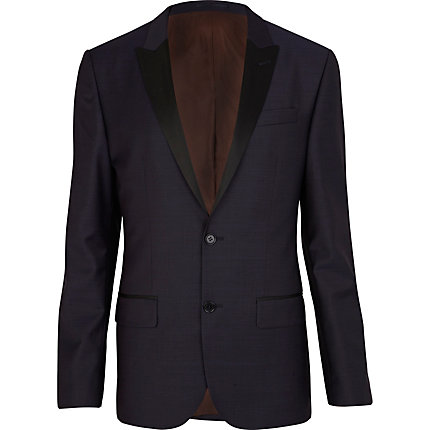 Purple contrast lapel slim fit suit jacket