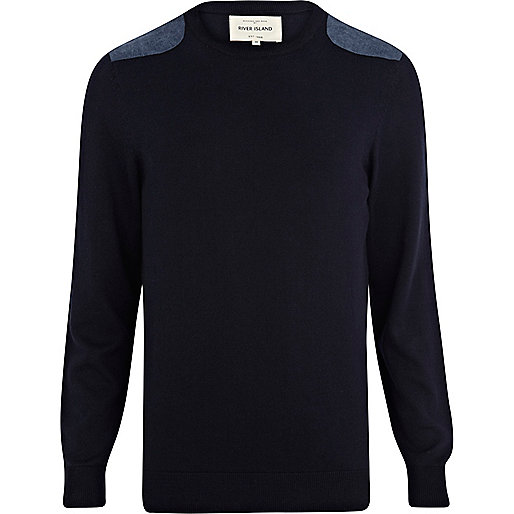 Navy denim shoulder patch jumper