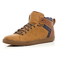 Brown denim contrast panel high tops