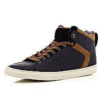 Navy contrast panel lace up high tops