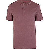 Purple grandad plain t-shirt