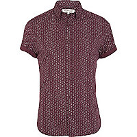 Berry red paisley print shirt
