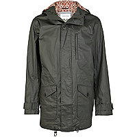 Green coated parka jacket