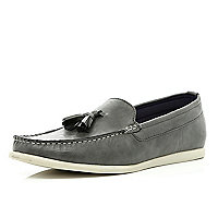Grey tassel loafers