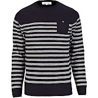 Navy stripe patch pocket jumper