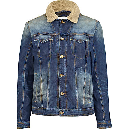 Blue casual denim jacket with borg collar