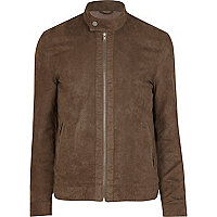 Brown suede perforated bomber jacket