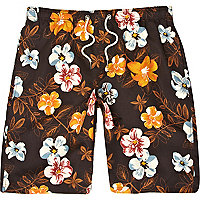 Black floral print swim shorts