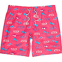 Pink sunglasses print swim shorts
