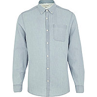 Light wash roll sleeve shirt