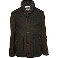 Green Holloway Road waxed high neck jacket