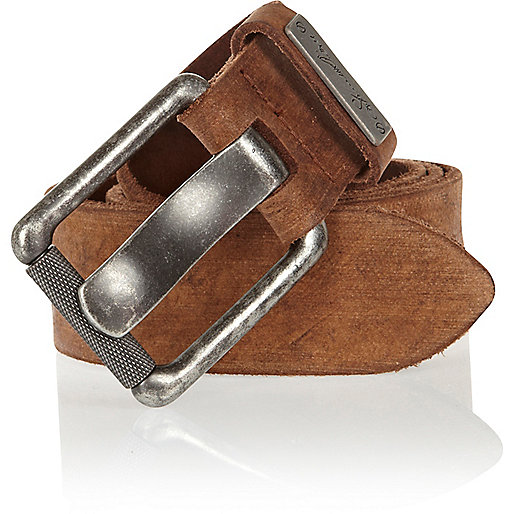 Brown distressed wide belt