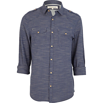 Navy grid print long sleeve shirt