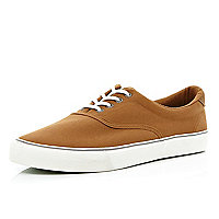 Brown canvas lace up trainers