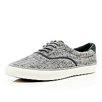 Grey cross print lace up trainers