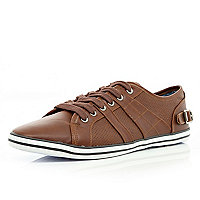 Brown contrast panel lace up plimsolls