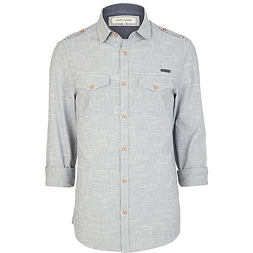 Blue cross hatch long sleeve shirt