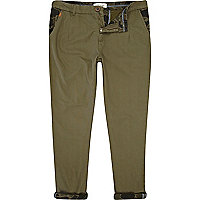 Green roll up chinos