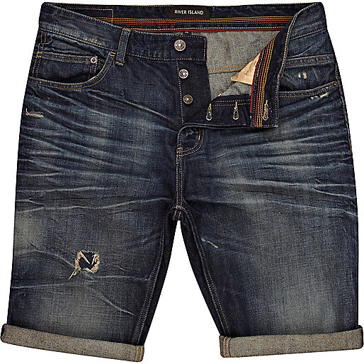 Dark wash distressed denim turn up shorts