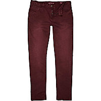 Red distressed Sid skinny stretch jeans