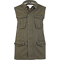 Khaki green studded sleeveless army gilet