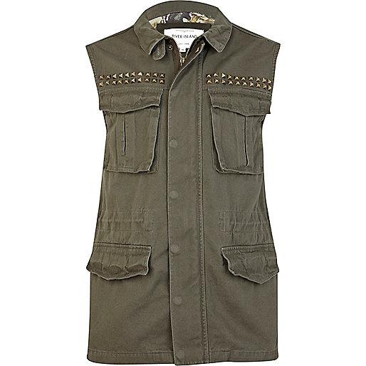 Khaki green studded sleeveless army gilet