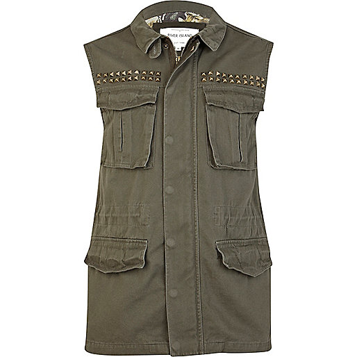 Khaki green studded sleeveless army vest