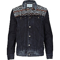 Blue aztec yoke denim jacket