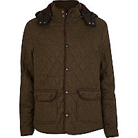 Green wool quilted jacket