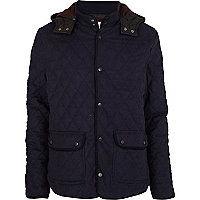 Navy wool quilted jacket