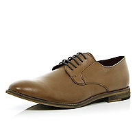 Brown formal round toe lace up shoes