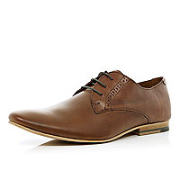 Brown formal lace up pointed shoes