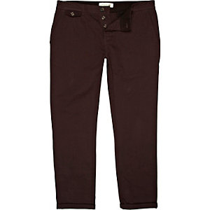 Dark plum red slim leg rolled up chinos