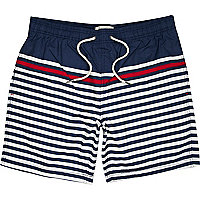 Navy contrast stripe swim shorts