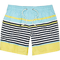 Yellow pastel stripe swim shorts