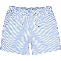 Blue and white striped short swim shorts