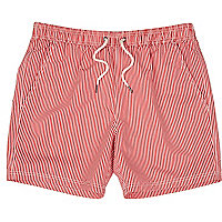 Red and white striped swim shorts