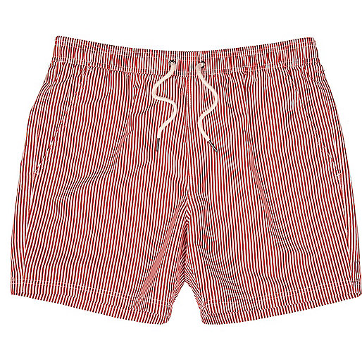 Red and white striped short swim shorts