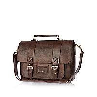 Brown buckle satchel