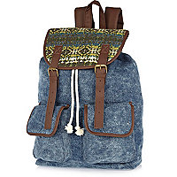 Blue denim print panel rucksack