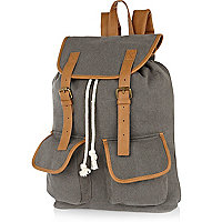 Grey pocket contrast strap rucksack