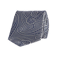 Grey large scale paisley tie