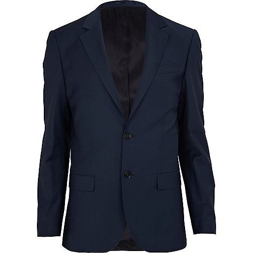 Dark blue slim suit jacket