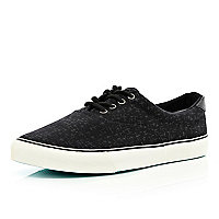 Black cross print canvas lace up trainers
