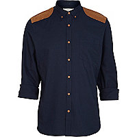 Navy shoulder patch shirt