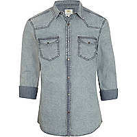 Grey acid wash roll sleeve denim shirt