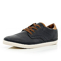 Navy brogue lace up plimsolls