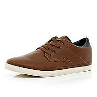 Brown brogue lace up plimsolls